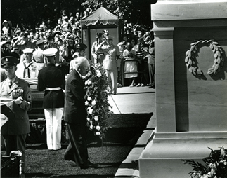 President Dwight D. Eisenhower places a wreath at the Tomb of the Unknown Soldier of World War I during interment ceremonies for the Unknown Servicemen of World War II and the Korean Conflict, at Arlington National Cemetery. Image source: Old Guard