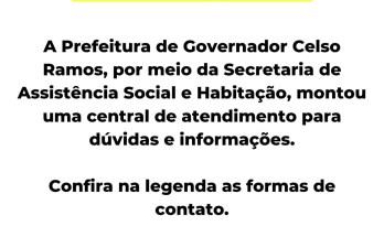 Central de atendimento da Secretaria de Assistência Social do município de governador Celso Ramos
