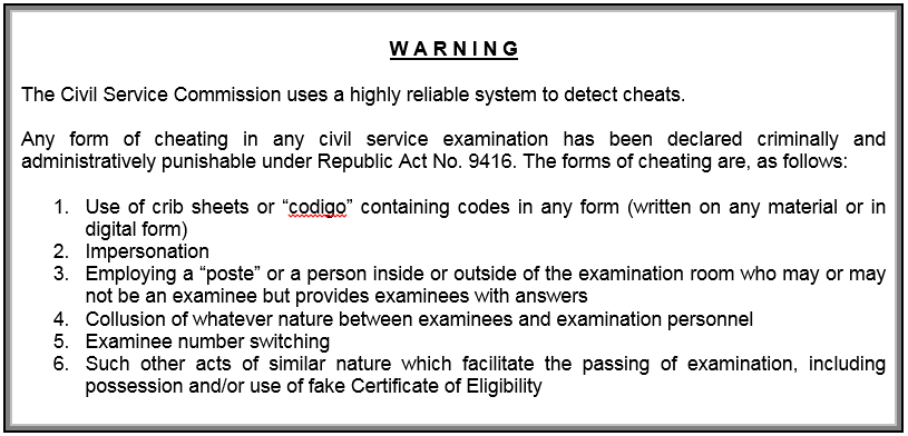 Civil Service Exam Warning Announcement