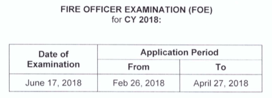 Fire Officer Exam Schedule 2018