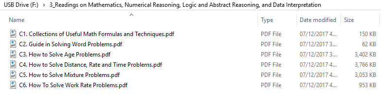 Readings on Mathematics, Numerical Reasoning, Logic and Abstract Reasoning, and Data Interpretation