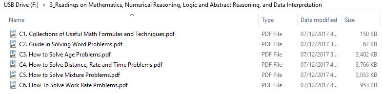 Readings on Mathematics, Numerical Reasoning, Logic and Abstract Reasoning, and Data Interpretation