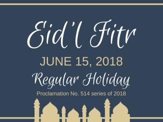 Eid'l Fitr June 15 2018