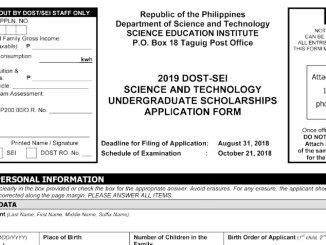 2019 DOST Application Form