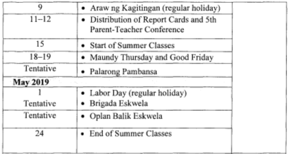 2019 Deped Calendar Of Activities Early Registration