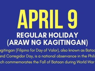 April 9 Holiday Araw ng Kagitingan