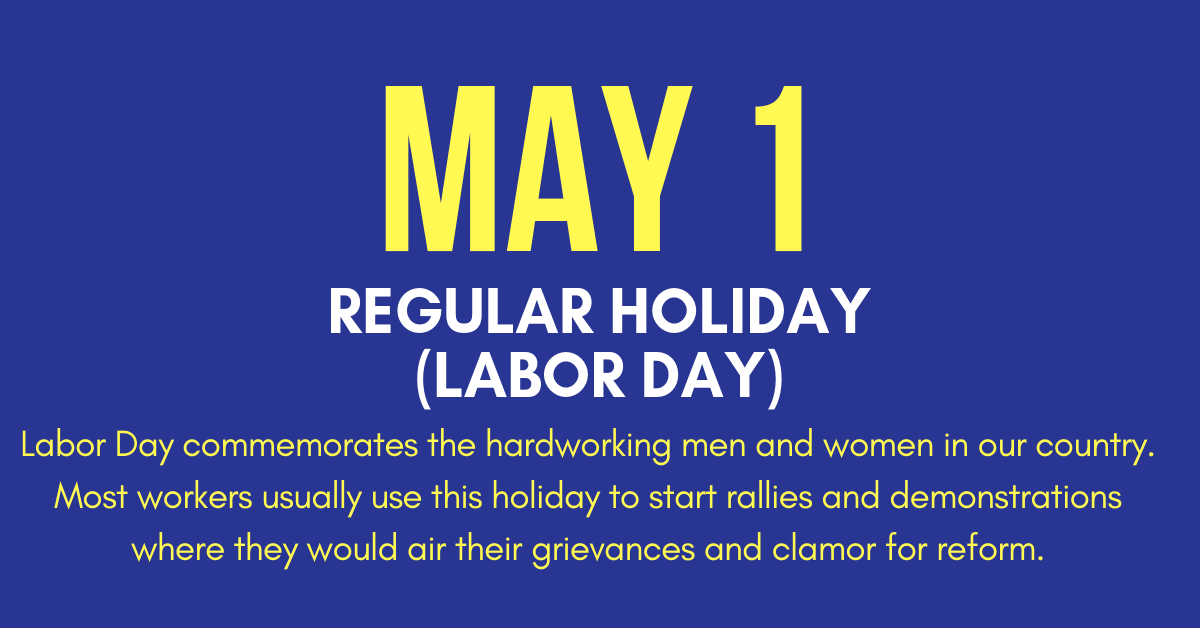 May 1, 2019 Holiday Labor Day