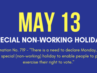 May 13 Holiday Election