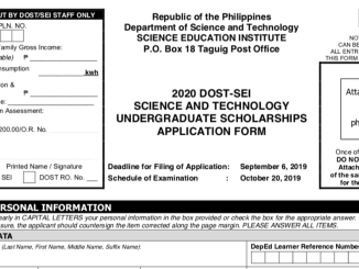 DOST Scholarship Form 2020