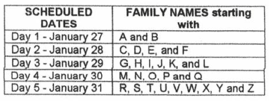 NAPOLCOM Online Filing Schedule