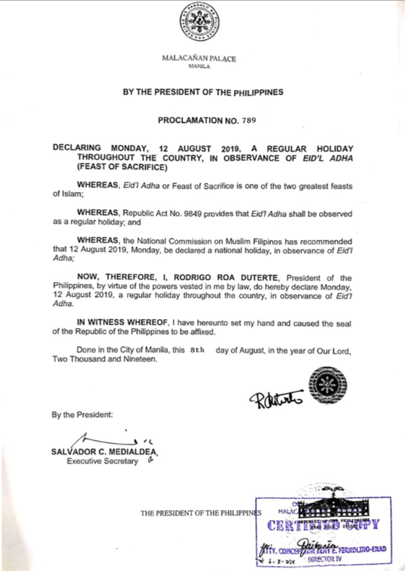 Proclamation No. 789 Series of 2019