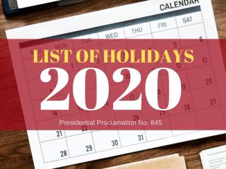 Philippine Holidays 2020 Proclamation 845