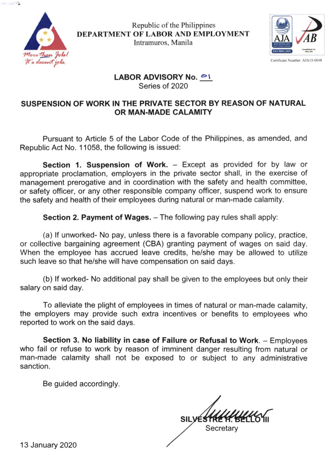 DOLE Advisory on Private Work Suspension