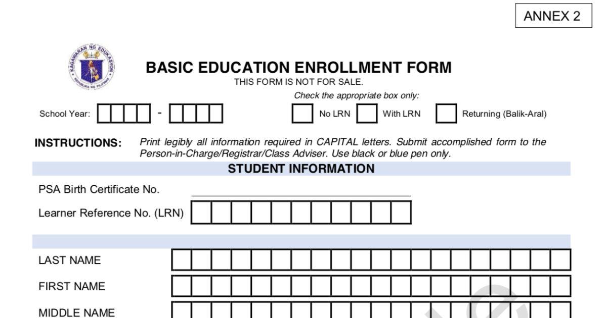 DepEd - Basic Education Enrollment Form
