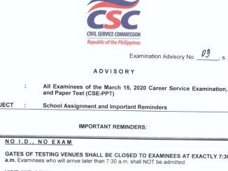 CSE Reminders March 2020
