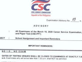 CSE Reminders March 2020
