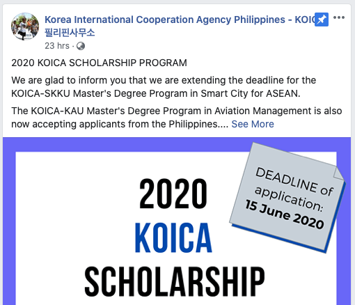 KOICA Scholarship June 15