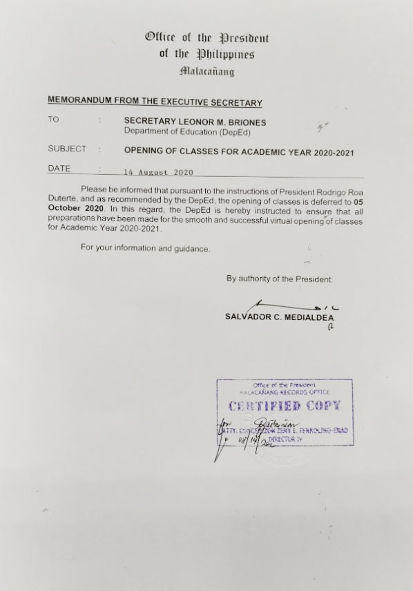 October 5 Opening of Classes