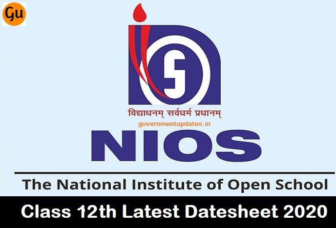 NIOS new date sheet 2020 12th class