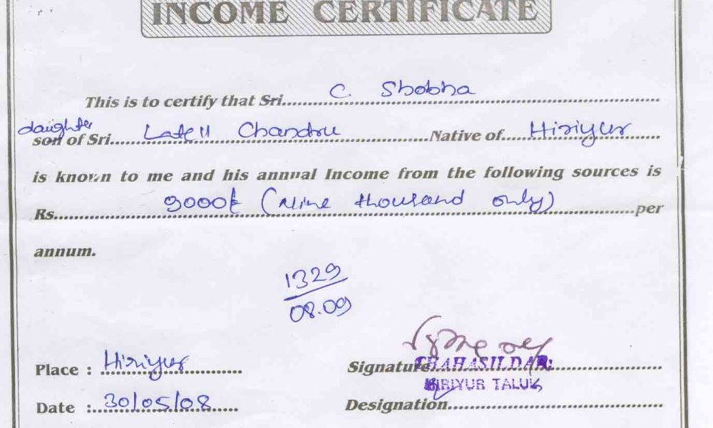 Income Certificate Form Download Rajasthan Image