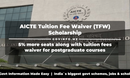 AICTE Tuition Fee Waiver (TFW) scheme for postgraduate courses