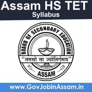 Assam HS TET 2020 Syllabus