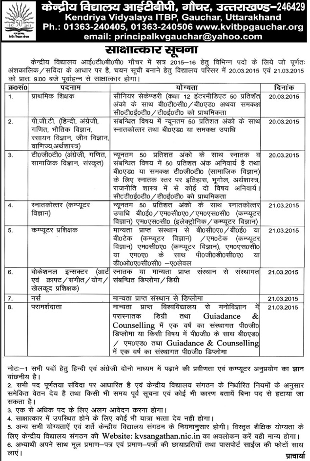 Teachers Recruitment in KV ITBP Gauchar- Kendriya