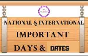 Important Dates ,Important Days,list of important dates,International Important Days,