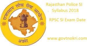 Rajasthan Police SI Syllabus 2018