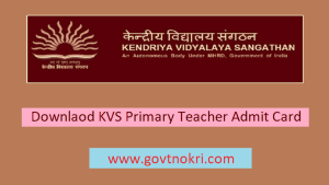 KVS Primary Teacher Admit Card 2018