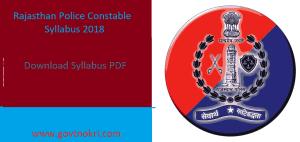 Rajasthan Police Constable Syllabus 2018