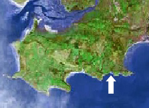 Location of Caswell bay on the Gower peninsula, Swansea, Mumbles
