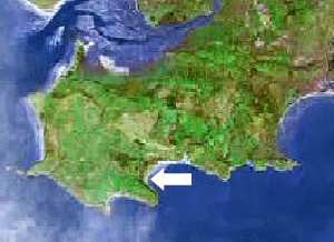 Location of Oxwich bay on the Gower peninsula, Swansea, Mumbles