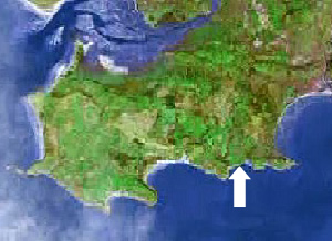 Location of Brandy Cove on the Gower peninsula, Swansea, Mumbles