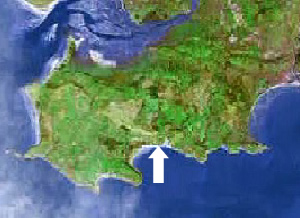 Location of Tor bay on the Gower peninsula, Swansea, Mumbles