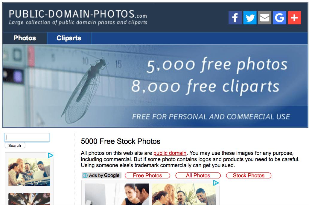 Public Domain Photos Webサイト