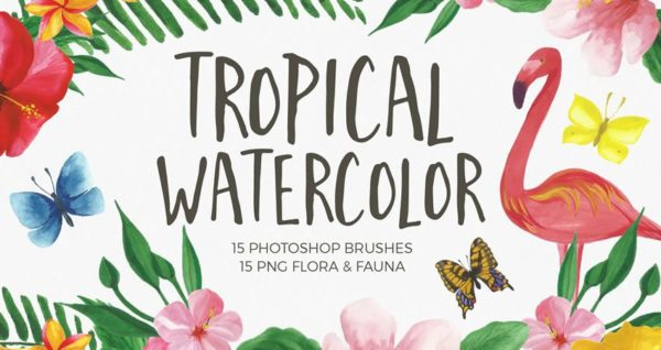 Tropical Watercolor Brushes for Photoshop