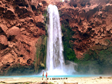 Standing at the foot of Mooney Falls