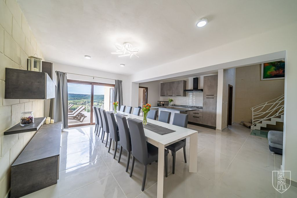 Luxurious open plan kitchen of The Falls Villa in Gozo
