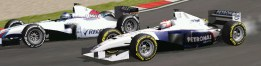 Roberta Correa (BMW) e Fernando Antunes (Williams) duelando durante o GP da China de Fórmula 1.