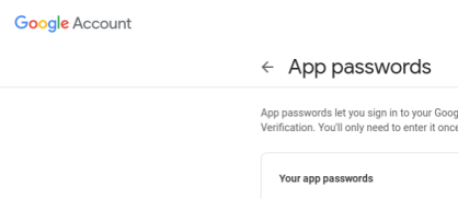 The App passwords page in your Google Account