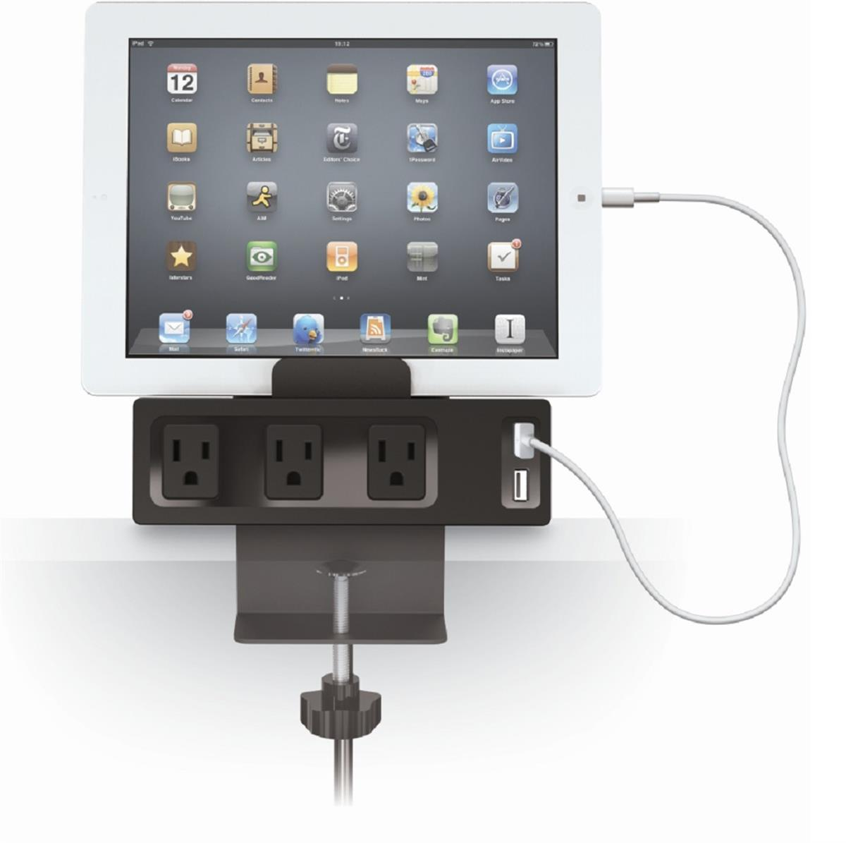 Clamp Mount Powered Display Charger 3 Outlet WDual USB Port