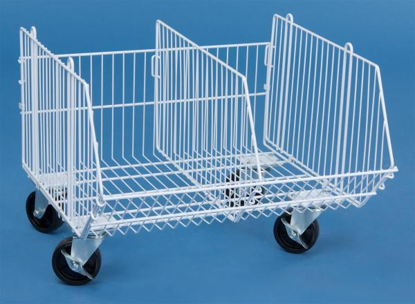 Mobile Wire Storage Basket 1 Tier With Removable Divider