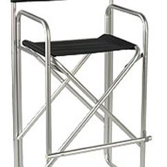 Tall Director Chair Office Handles Metal Folding Directors | Aluminum/black