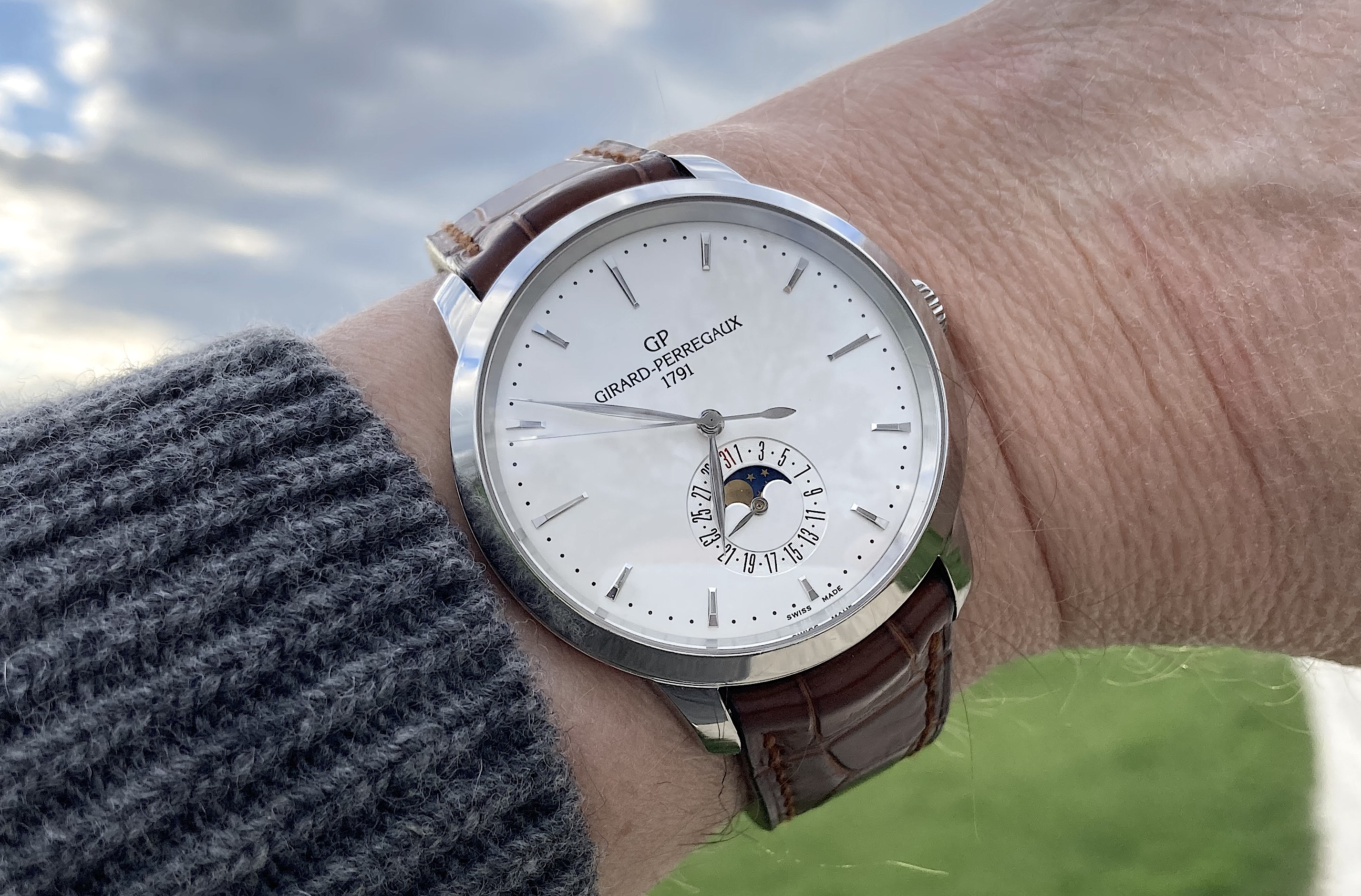 wristshot: Girard-Perregaux 1966 Date and Moon Phase