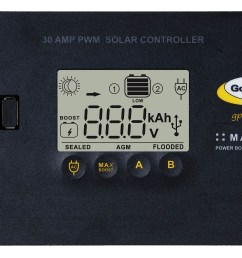 go power s 30 amp digital solar controller accepts 80 600 watts of solar and protects the life of your solar battery whether it s lithium agm  [ 1920 x 1119 Pixel ]