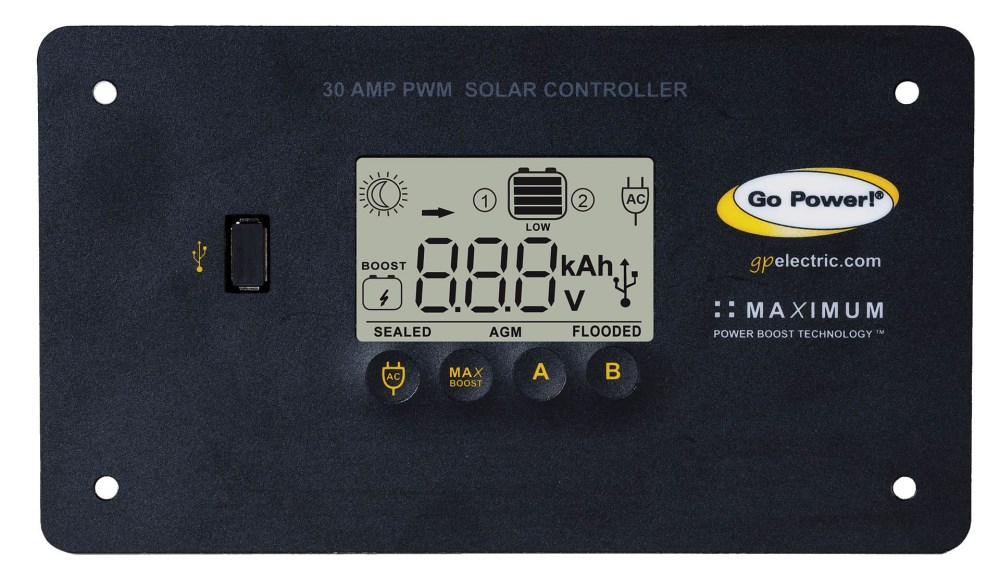 medium resolution of go power s 30 amp digital solar controller accepts 80 600 watts of solar and protects the life of your solar battery whether it s lithium agm