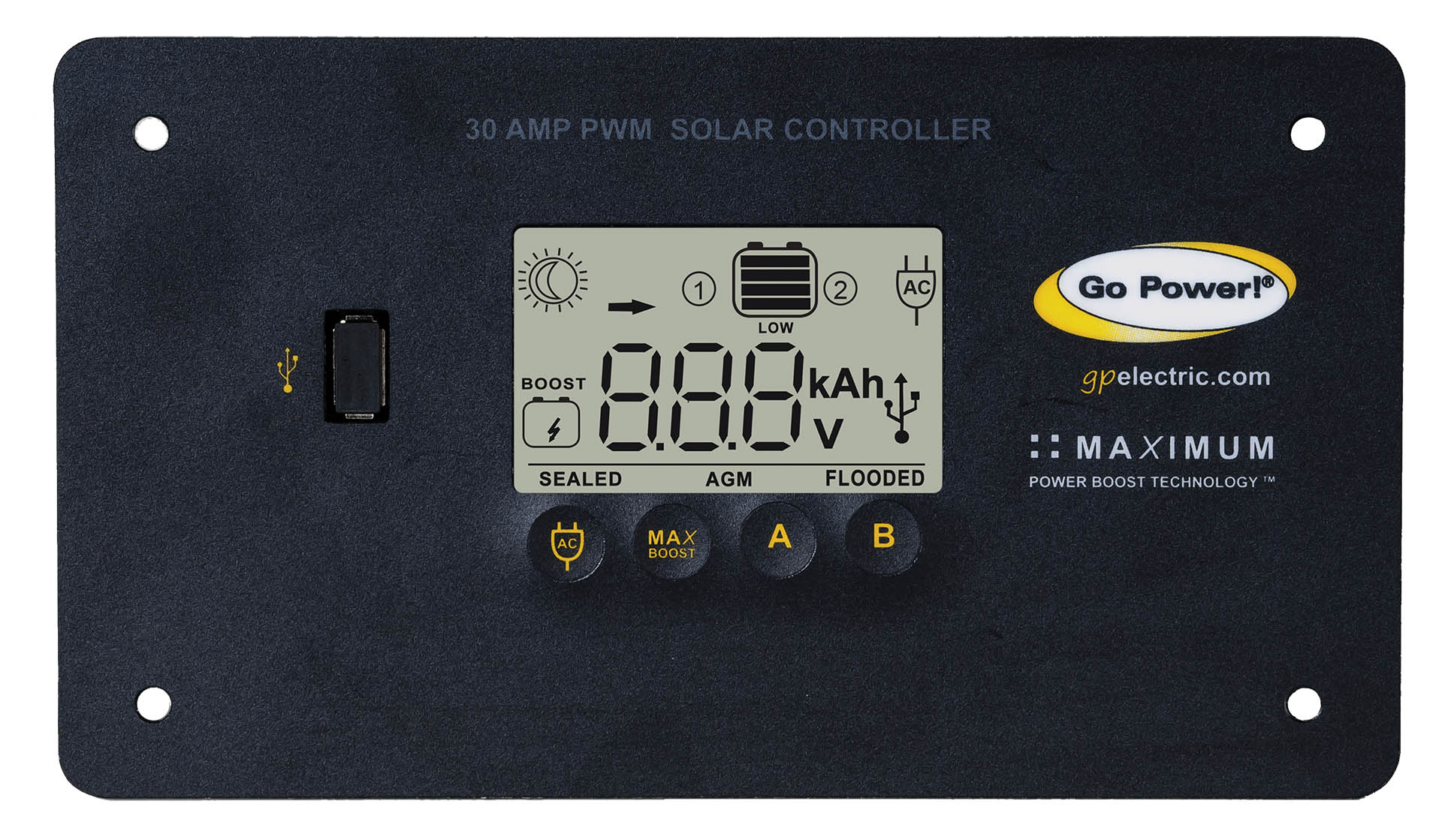 hight resolution of go power s 30 amp digital solar controller accepts 80 600 watts of solar and protects the life of your solar battery whether it s lithium agm