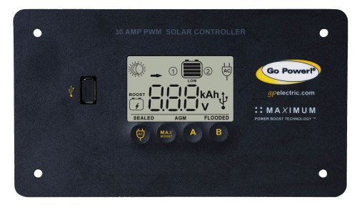 small resolution of go power s 30 amp digital solar controller accepts 80 600 watts of solar and protects the life of your solar battery whether it s lithium agm