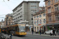 Streetcar in Karlsruhe, Germany runs on overhead electric wires.